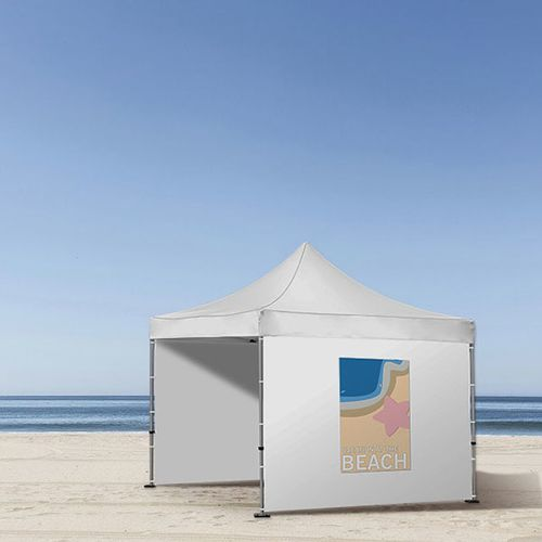 Temporary tent wall customization that is easy to apply